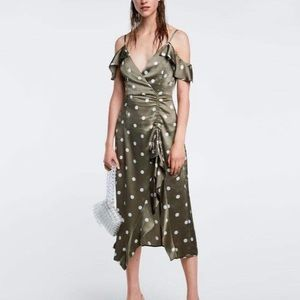 ZARA Silk Polka Dot Midi Dress